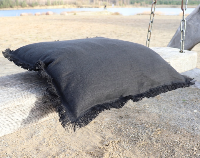 Black linen pillow with fringes, Natural linen pillowcase with raw edge, Pure linen pillow cover, Natural linen cushion cover, Gift idea