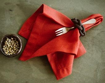Linen Napkins of organic linen flax - Christmas napkin Set of 6 8 10 - Festive napkins - Thanksgiving table decor - Natural linen napkin set