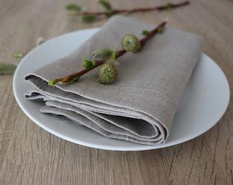 Linen Dinner Napkin Set of 8 12 - Blue Linen Napkins - Narural Linen Napkins - Elegant Linen Napkin - Christmas Napkins - Easter Table Decor