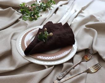 Brown Linen Napkins Set of 8 12, Natural Linen Napkins, Pure Linen Dinner Napkins, Wedding Linen Napkins, Easter Napkins, Christmas Napkins