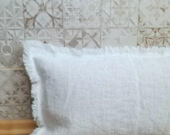 Linen lumbar pillow with fringes - Bench cushion - White pillowcase - Long lumbar pillow - Thick linen pillow - Natural pillow - Soft linen