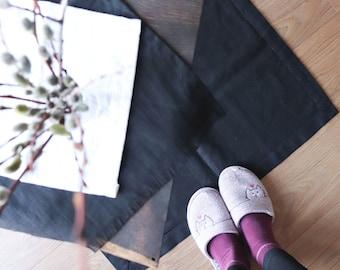 Thick linen mat rug of natural flax, Organic linen mat, Black double-layered mat, Bedroom linen rug, Door linen mat, Sauna mat, Yoga rug