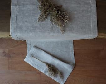 100% Linen Table Runner of Natural Flax, Light Grey Table Runner,  Pastel Color Table Runner,  Pure Linen Table Runner,  Easter Table Linen