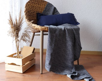 Soft Linen Blanket in a diamond pattern - Pure Linen Blanket - Baby Linen Blanket - Linen Plaid - Linen Throw - Beach Blanket - Linen Bed