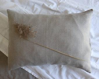 Soft linen pillowcase of natural flax, Pure linen pillow, Natural grey linen pillow, Pure linen pillowcase, Long lumbar pillow, Bedding