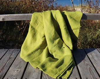 Green linen blanket of natural flax, Softened linen throw blanket, Summer blanket, Bright green throw blanket, Natural linen bed cover, Gift