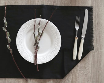 Placemats with fringed edges of natural linen flax, Black linen placemats, Pure linen placemats, Kitchen table decor, Easter placemats, Gift