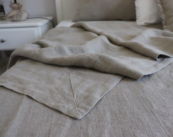Natural LINEN BLANKET in twin size, queen size. Summer linen coverlet. Stonewashed bed throw. Linen summer blanket. Linen summer cover.