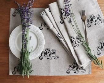 Sale! Natural linen placemat set, Linen placemats with cat print, Placemats for cat lovers, Organic linen placemat, Farmhouse style Placemat