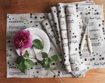 Sale! Thick Linen Placemat Set of 8, Natural Linen Placemats, Placemats for Dining Table, Linen Placemats With Print, Farmhouse Placemats