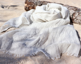 Wide scarf of natural linen flax,  Light grey linen scarf of softened flax, Washed linen shawl, Unisex Scarf , Summer/Spring beach shawl