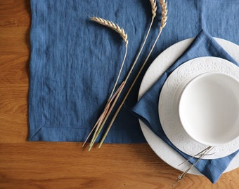 BLUE TABLE RUNNER and napkins, Linen table runner, Pure linen runner, Natural linen runner, Thanksgiving table linen, Christmas table runner