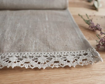 Narural linen curtain with lace edge trim, Linen cafe curtain, Pure linen panel, Light privacy window shad, Bathroom curtain, Kitchen window