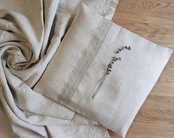 Light grey linen pillow cover, Oatmeal linen pillow with lace, Decorative linen pillow, Linen cushion, Pure linen pillow case, Modern decor