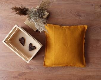 Natural Linen Throw Pillow 100 % linen flax,  Natural  Linen Cushion Cover,  Decorative Pillow of Organic Linen, Pure Linen Pillowcase