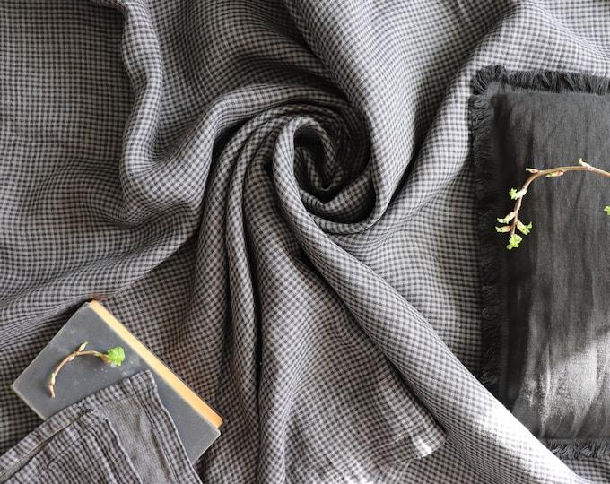 Pure linen blanket in black grey color, Checkered soft linen throw blanket, Linen summer cover, Organic linen beach blanket, Shower gift