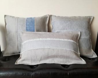 Gray Linen Pillow Set - Pure Linen Collection of Throw Pillows - Gray Linen Decorative Pillow - Natural Linen Throw Pillow - Herringbone Rug