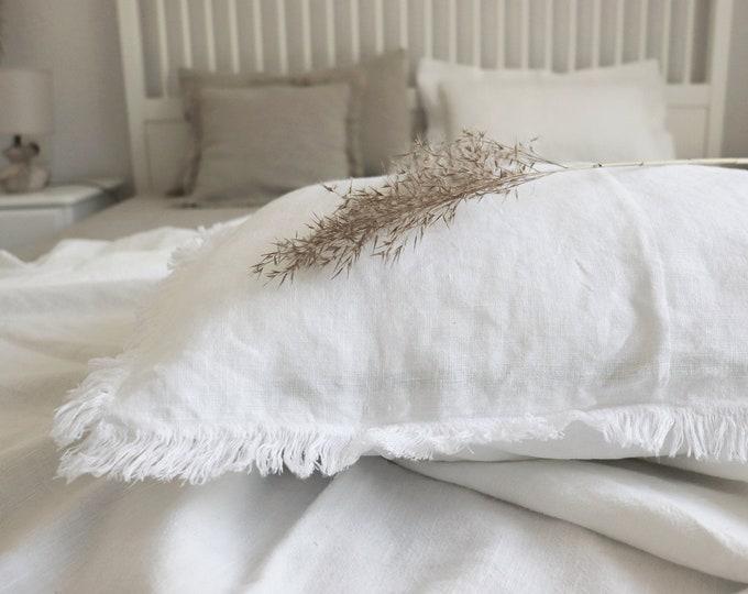 Natural Linen body pillow cover, Long body pillowcase with fringes, Fringed linen pillowcase, Long linen lumbar pillowcase, Farmhouse pillow