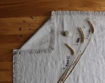 Soft linen mat with fringed edges, Gray linen rug of natural flax, Organic linen mat, Bathroom mat, Sauna rug, Bedroom mat, Pure linen mat