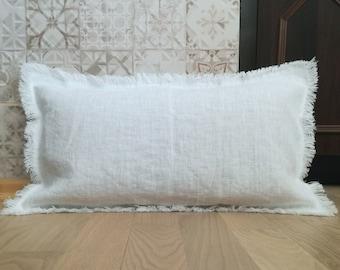 Linen pillow with raw edge - Lumbar linen pillow cover -Bench cushion - White pillowcase - Long lumbar pillow - Thick linen pillow - Natural