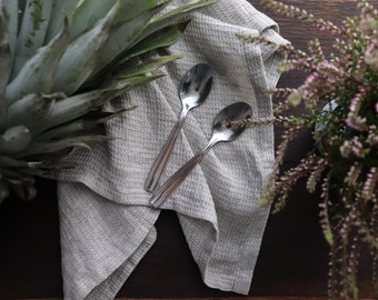 Kitchen linen towel Set of 3, Gray linen dish towels, Waffle linen dishcloths, Linen tea towels, Softened Linen Towels of natural linen flax