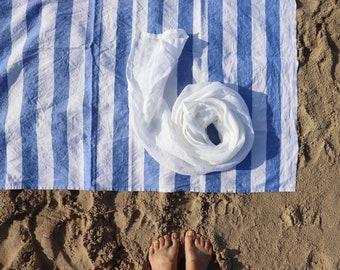 Linen Bath Sheet of Natural Flax, Linen Beach Blanket, Large Linen Towel, Striped Linen Sheet, Pure Linen Sauna Sheet, Organic Linen Towel