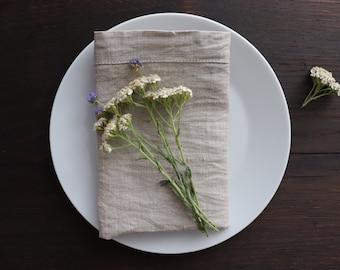 Washed Linen Napkins Set 4 6 8 10 of natural linen flax,  Natural Gray Linen Napkins, Softened Linen, Organic Linen Napkins, Undyed Napkins