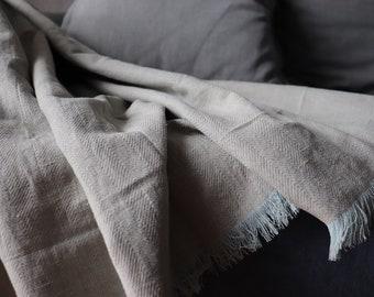 Soft Linen Blanket in herring bone pattern - Natural Linen Throw Blanket - Summer Blanket - Organic Kids Blanket of linen flax - Shower gift