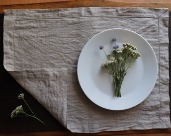 Washed Linen Placemat Set of Organic Linen Flax, Natural Gray Linen Placemats, Gray Linen Placemats in custom color, Placemat of Linen Flax
