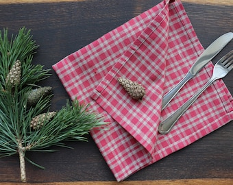 Christmas Napkins of organic linen flax in checkered pattern, Red Grey napkin set of 6 8 10, Festive napkins of natural linen, Thanksgiving