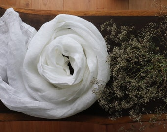 Linen Shawl of Pure Linen,White / Natural Gray Linen Scarf of Softened Flax, Washed Linen Scarf, Unisex Scarf , Wedding Linen Shawl, Gift