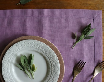 Pure Linen Placemats Set of 6 8 10 12 made of natural linen flax, Wedding Linen Placemats, Lavender Pink Linen Placemats, Easter Placemats