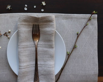 Patterned linen placemat set of thick linen flax, Organic linen placemats in a diamond pattern, Farmhouse style pure linen placemat, Natural