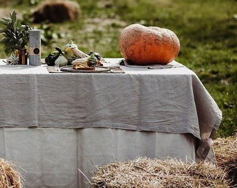 Large Linen Tablecloth - Thanksgiving Linen Tablecloth - Grey Tablecloth - Wedding Tablecloth - Elegant Tablecloth - Christmas Tablecloth