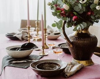 Linen Tablecloth + Napkins - Dark Gray/ White / Gray  /Dusty Rose  Tablecloth - Natural Linen Tablecloth - Wedding Tablecloth - Christmas