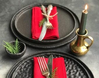Christmas linen napkin set of natural flax, Cloth napkin set of 4 8 12 for wedding table, Thanksgiving table decor of organic linen, Wedding