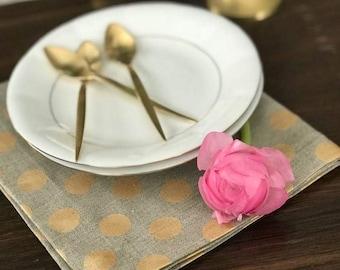 Pure Linen Placemat Set of 4 6 8 10 - Natural Gray Linen Placemat with gold dots - Pure Linen Placemats - Spring Summer Decor