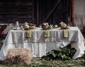Gray Linen Tablecloth - Washed Grey Linen Tablecloth - Softened Linen - Gray Rustic Linen - Rustic Wedding Tablecloth - Easter tablecloth