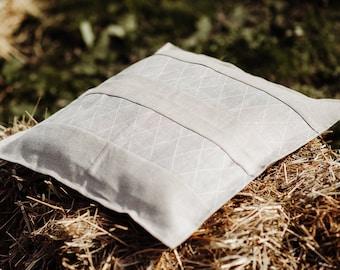 Natural Gray Linen Throw Pillow - Striped Linen - Pure Linen Cushion Cover - Linen Decorative Pillow - Farmhouse Cushion -Organic Pillowcase