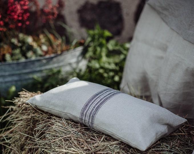 French Style Grain Sack Pillow - Striped Linen Pillow - Pure Linen Throw Pillow - Decorative Pillow - Farmhouse Cushion - Organic Pillowcase