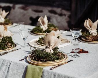 Rustic Linen Tablecloth - Light Gray Linen Tablecloth - Pure Linen Tablecloth - Elegant Tablecloth - Christmas tablecloth - Rustic Wedding
