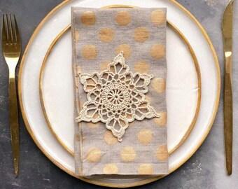 Polka Dot Linen Napkin Set of 6 8 10 - Pure Linen Napkins with golden dots - Natural Gray Linen Napkins - Wedding Napkin - Christmas napkins