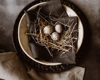 Dinner Cloth Napkins Set of 8 12 - Dark Gray Linen Napkins - Natural Linen Napkin - Elegant Linen Napkins - Easter Linen Napkins - Christmas