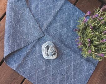 Thick Linen Mat Rug - Natural Linen - Blue linen bath mat - Sauna mat - Door Mat - Bath linen rug - Natural yoga mat / rug - Pure linen mat