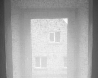 White Linen Curtain - Sheer Linen Curtain - Bathroom Window Linen Curtain - Kitchen Panel - Light Privacy Window Shad - Linen Cafe Curtain
