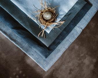 Blue Table Runner - Linen Table Runner - Dark Blue Table Runner - Natural Linen Runner - Easter Table Linen - Wedding Table