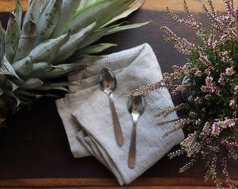 Waffle washcloth set of 3 made of natural linen flax,  Black linen dish towels, Pure linen dishcloths, Linen tea towels, Linen hand towels