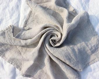 Waffle Linen Towels - Linen Hand / Face Towel -  Grey Linen Towel - Pure linen bath towel - Sauna Towel - Pure Linen Towel - Beach Blanket