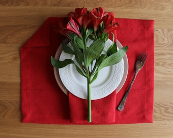Red linen placemat set of 6,8,10 made of flax, Natural linen placemats, Christmas linen placemats, Thanksgiving placemat set, Table decor