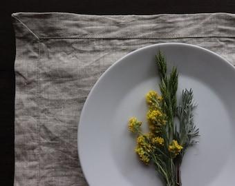 Washed Linen Placemat Set of 6 8 10, Pure Linen Placemats, Natural Linen,  Wedding Linen Placemats, Rustic Placemats, Christmas placemats